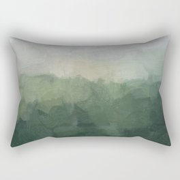 Gray Fog Green Hills Abstract Nature Scenic Painting Art Print Wall Decor  Rectangular Pillow