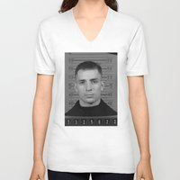 kerouac V-neck T-shirts featuring Jack Kerouac Naval Enlistment Mug Shot  by All Surfaces Design
