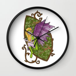 Faerie's Stained Glass Wall Clock