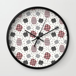 Modern pastel pink black white geometrical trendy pattern Wall Clock