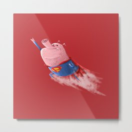 Super Pigs Can Fly Metal Print