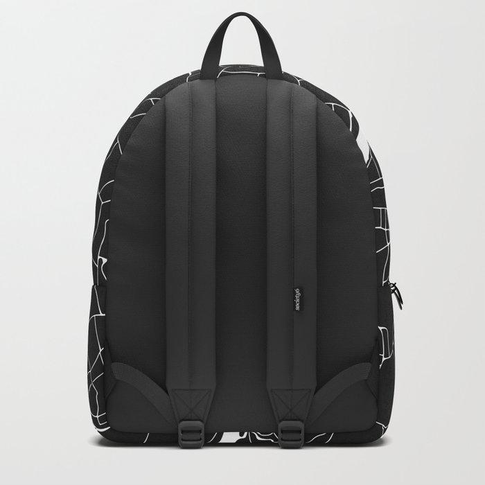London Black on White Street Map Backpack