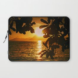 Golden Tahiti Sunset Behind Island Laptop Sleeve