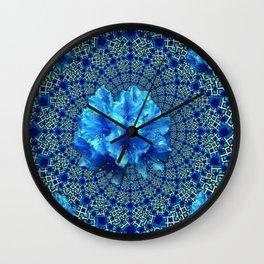 Sapphire Blue Optical Floral Art Wall Clock