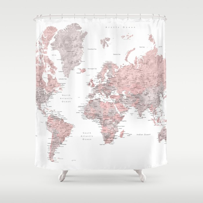 Dusty Pink And Grey Detailed Watercolor World Map Shower Curtain By