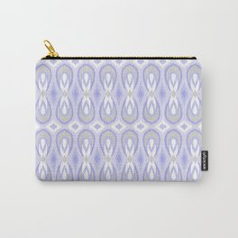 Ikat Teardrops in Pale Lavender and Gray Carry-All Pouch