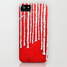 Bright Red Birch Forest by Mike Kraus - art aspen trees woods nature black white red abstract beauty iPhone Case