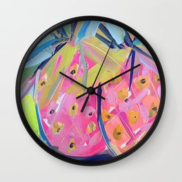 Pineapples with Yellow Wall Clock