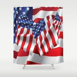 Patriotic American Flag Abstract Art Shower Curtain