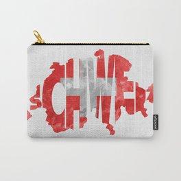 Schweiz / Switzerland Typographic Flag / Map Art Carry-All Pouch