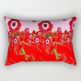RED SPRING ANEMONE  GARDEN ABSTRACT FLORAL Rectangular Pillow