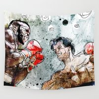 boxing Wall Tapestries featuring Boxing: Rocky Balboa vs Clubber Lang by Ed Pires