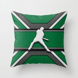 Baseball Player on Scoreboard Green Modern Carbon Fiber Background Throw Pillow