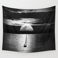 the moon Wall Tapestries featuring Moon by haroulita