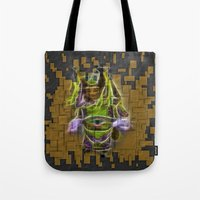 actor Tote Bags featuring Chinese Theatre Actor In Pieces by Lucia