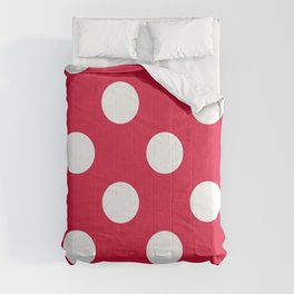 Large Polka Dots - White on Crimson Red Comforters