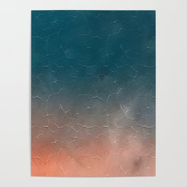 Modern  Textured  Atlantic Blue Abstract Poster
