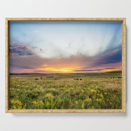 Tallgrass Prairie - Sunset and Bison on the Plains Serving Tray