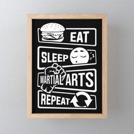 Eat Sleep Martial Arts Repeat - Martial Art Fight Framed Mini Art Print