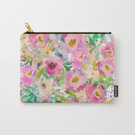 Elegant blush pink lavender green watercolor floral Carry-All Pouch