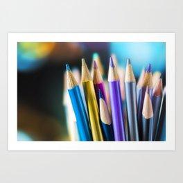 METTALIC COLORED PENCILS Art Print
