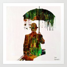 Rain in the abstract city Art Print
