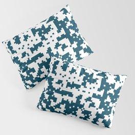 Small Pixel Big Pixel - Geometric Pattern in Dark Blue Pillow Sham