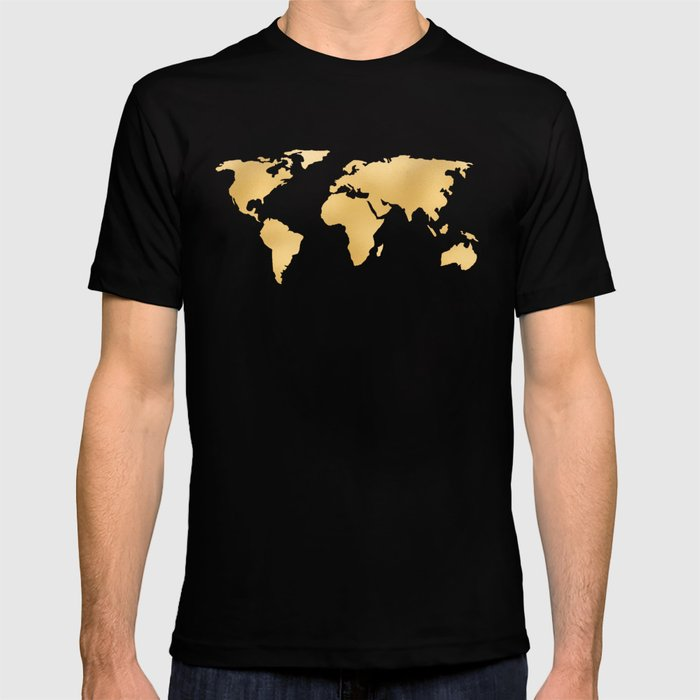 44804325 World Map Deep Gold Rush T Shirt By Mapmaker Society6