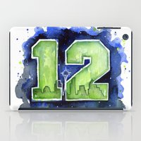 seahawks iPad Cases featuring 12th Man Seahawks Seattle Go Hawks Art by Olechka