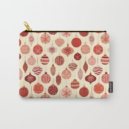 Christmas Ornaments Red Pink Beige Pattern Carry-All Pouch