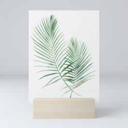 Twin Tropical Palm Fronds - Emerald Green Mini Art Print