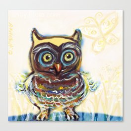 baby owl butterfly Canvas Print