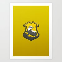 hufflepuff Art Prints featuring Hufflepuff by Tom Oxnam