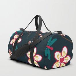 Cherry Blossom Season Dark Green Background Duffle Bag