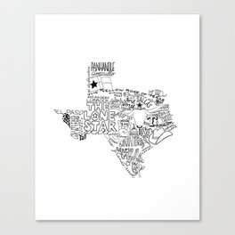 Texas - Hand Lettered Map Canvas Print
