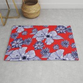 Red Blue: Floral Rug