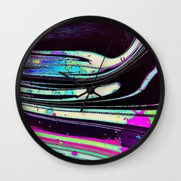 Lines and spots of color abstract digital painting Wall Clock