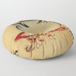 Vintage Japanese Teapot Painting Floor Pillow