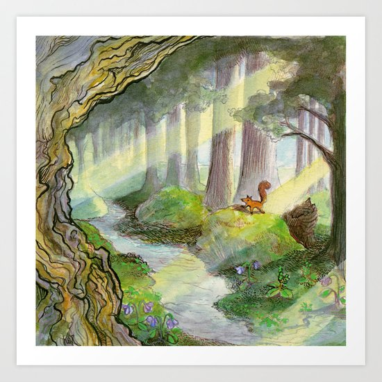 Ithilien, by a quiet stream Art Print