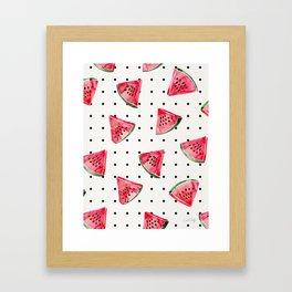 Watermelon Polka Dots Framed Art Print