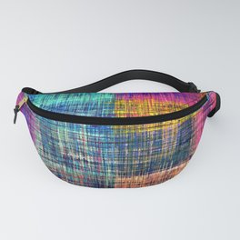 vintage square plaid pattern painting abstract in blue green brown pink Fanny Pack
