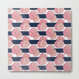 Pink Peony Floral on Navy Blue and White Stripes Metal Print
