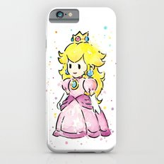 Princess Peach Mario Watercolor Game Art Slim Case iPhone 6