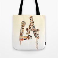 lakers Tote Bags featuring La La Land by Dave Homer