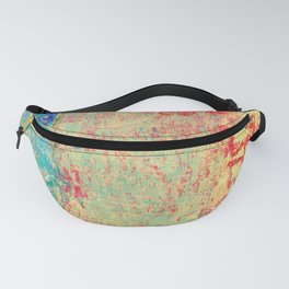 Brilliant Encounter, Abstract Art Turquoise Red Fanny Pack