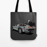delorean Tote Bags featuring DeLorean by CranioDsgn