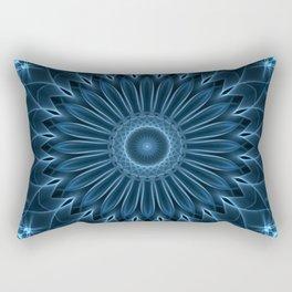 Detailed mandala in blue tones Rectangular Pillow