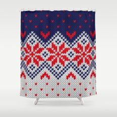 Winter knitted pattern 11 Shower Curtain