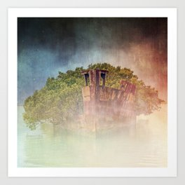 Ghostly Garden Shipwreck Art Print