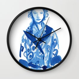 Samurai casual -blue ink woman fashion illustration Wall Clock